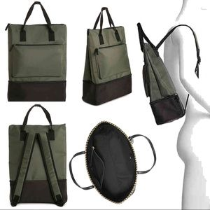 Handbags - GREEN BACKPACK WITH SHOE COMPARTMENT convertible